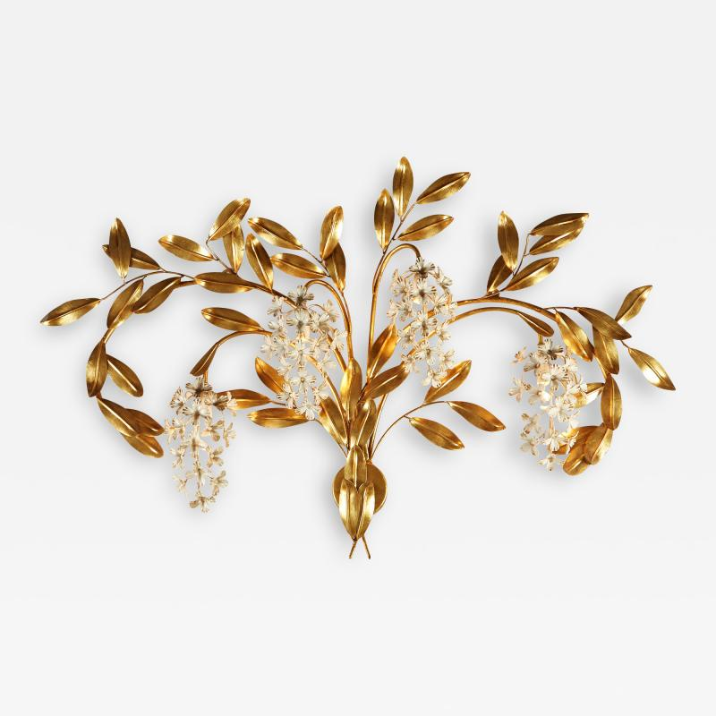 Large French gold leaf Wisteria flower wall light