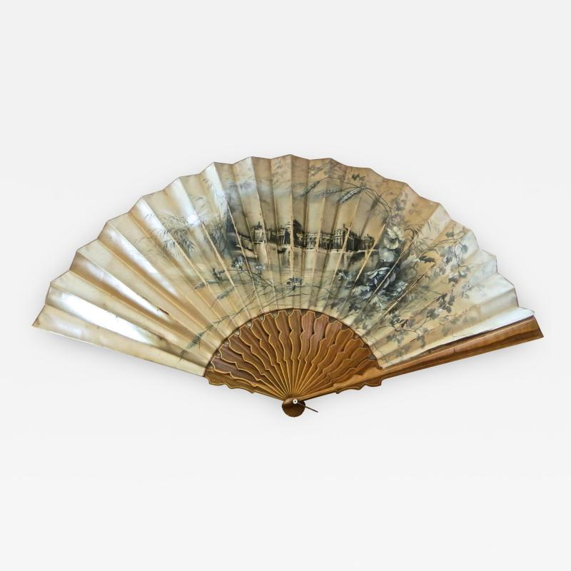 Large Hand Held Fan Columbian Exposition Circa 1893