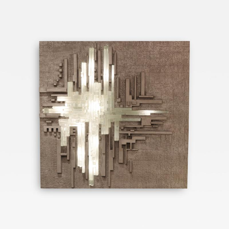 Large Illuminated Modernist Wall Sculpture