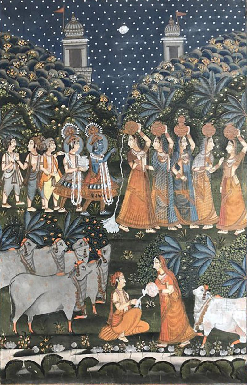 Large Indian Pichhavai Painting 19th Century