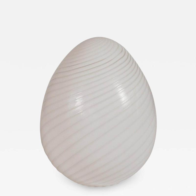 Large Italian Mid Century Modern Murano Art Glass Egg Table Lamp in White