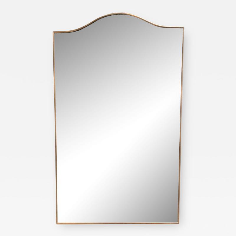 Large Italian Minimal Curvilinear Brass Mirror 1950s