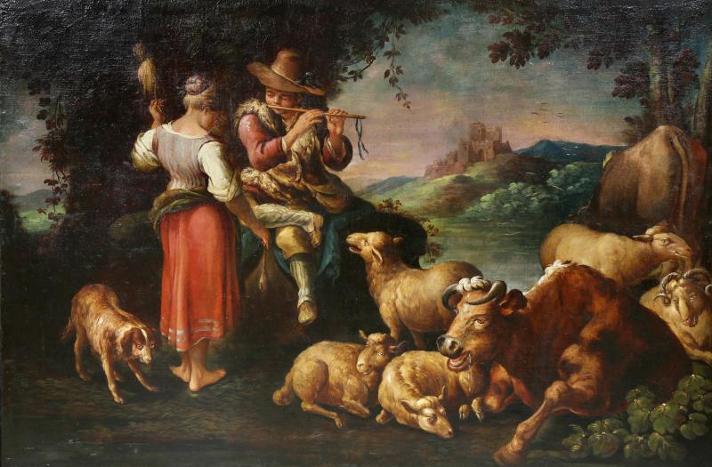 Large Italian Pastural Landscape Oil Painting