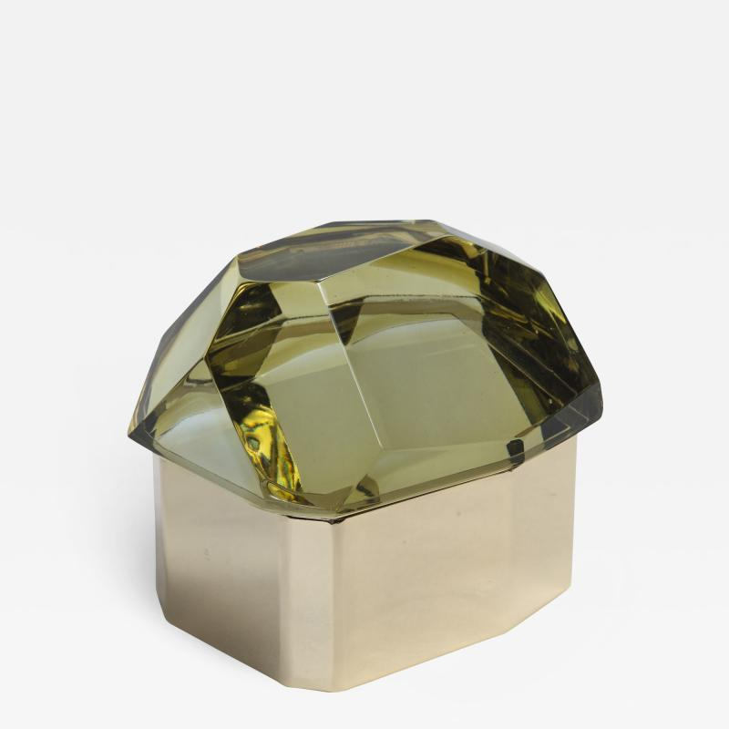 Large Italian Polished Diamond Faceted Box contemporary