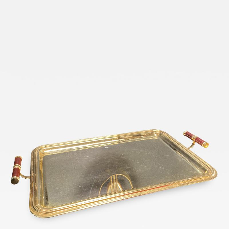 Large Italian Rectangular Tray Gold Plated 24k 1970s