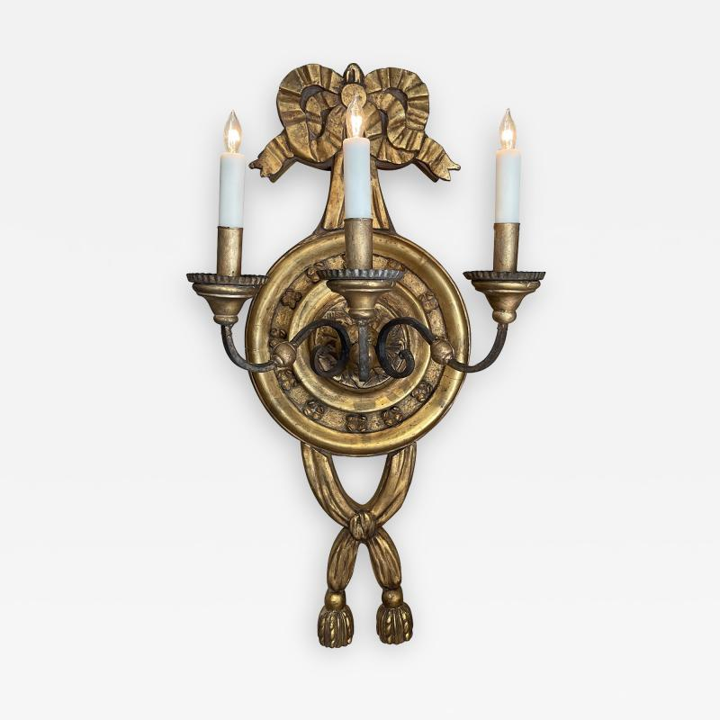 Large Italian baroque style 3 arm giltwood and iron wall sconce now electrified