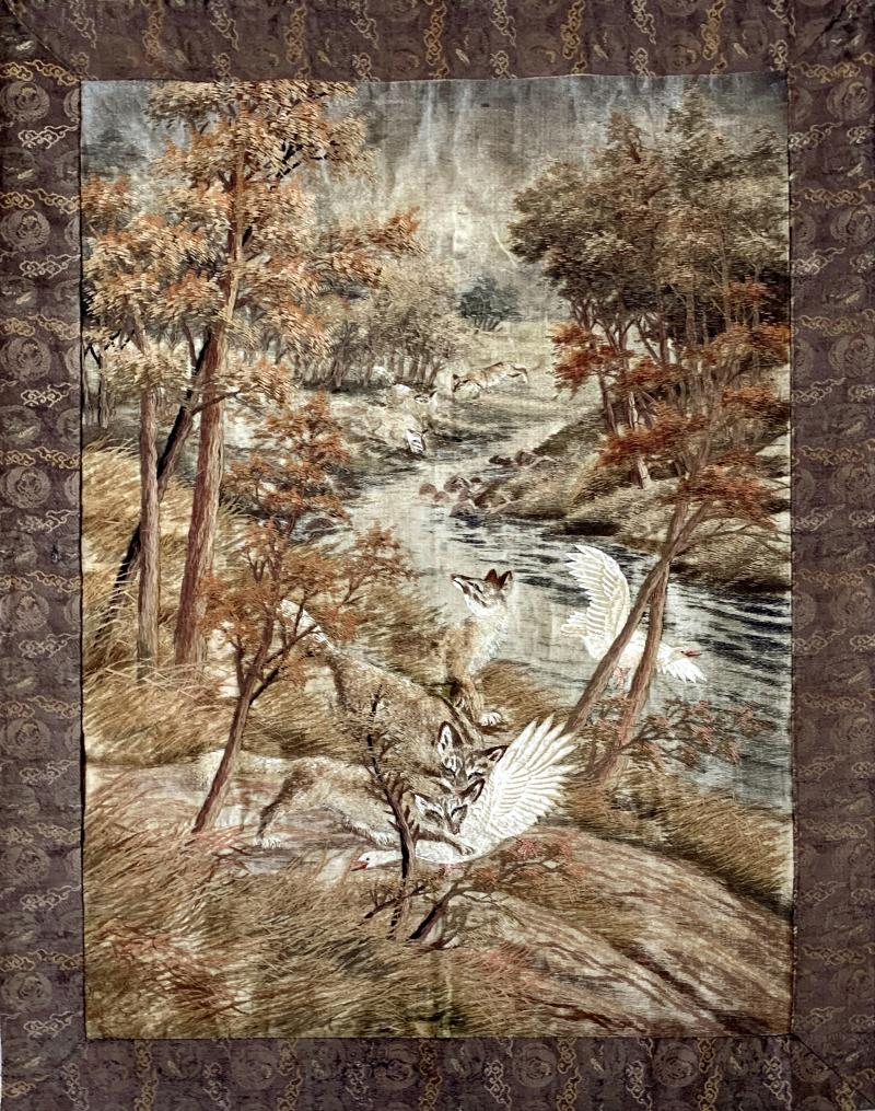 Large Japanese Embroidery Tapestry Meiji Period