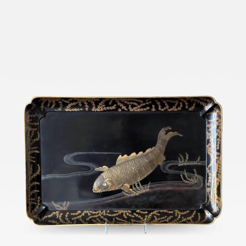 Large Japanese Lacquer Tray with Maki e Carp Design Meiji Period