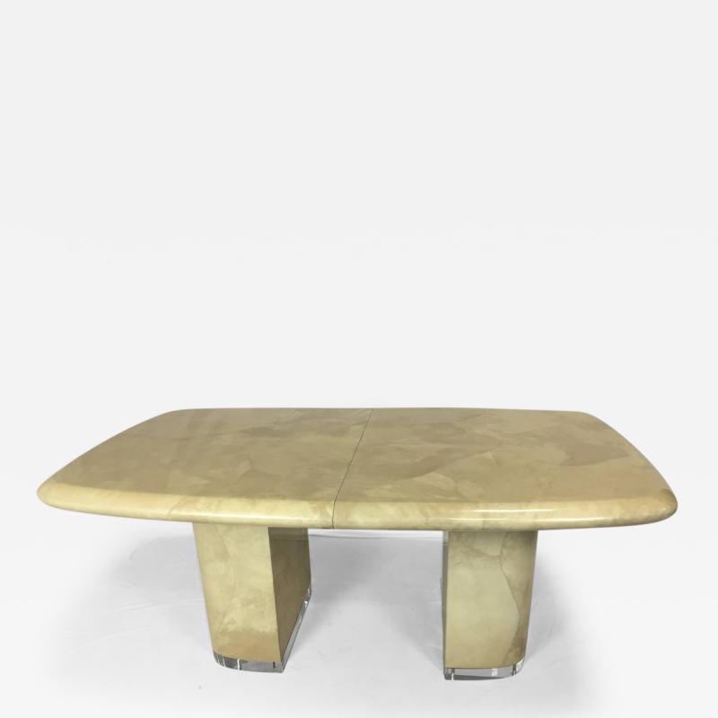 Large Karl Springer Style Goat Skin Rare Lucite Base Expandable Dining Table