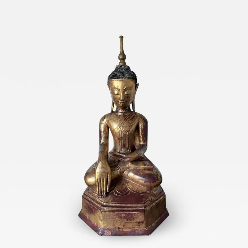 Large Lacquer Wood Antique Burmese Buddha Statue