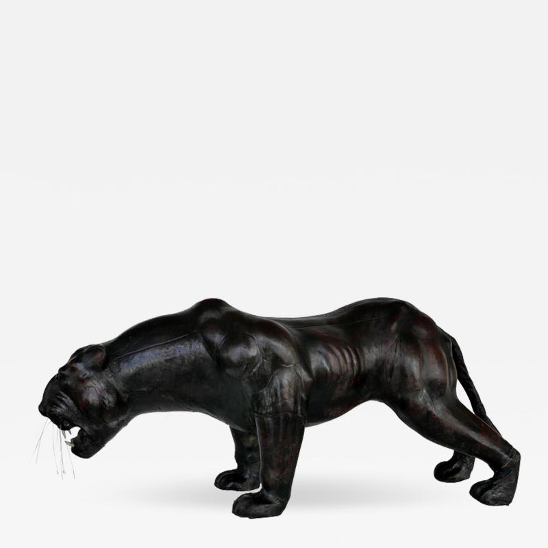 Large Leather Clad Sculpture of a Black Panther with Glass Eyes