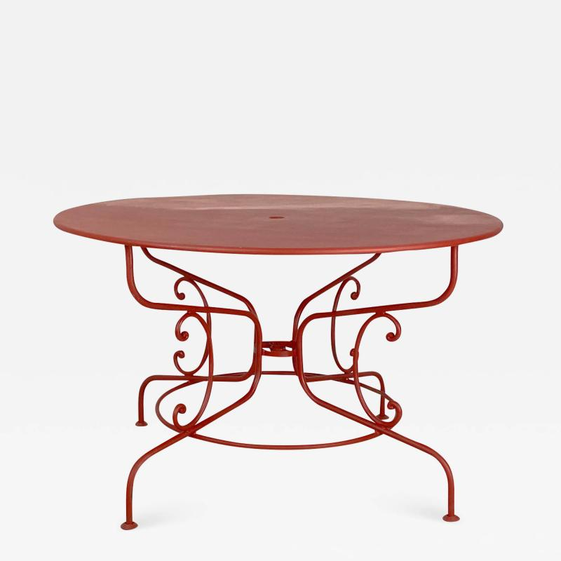 Large Mid Century Vintage French Red Garden Table