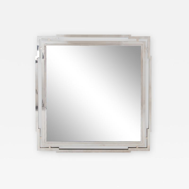 Large Modernist Nickel Mirror