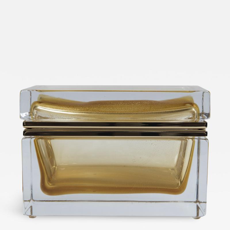 Large Murano Blown 24k Gold Box Contemporary