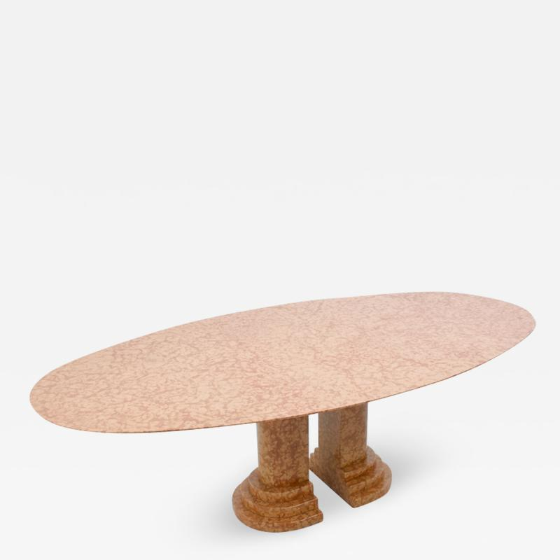 Large Oval Dining Table in Rosso Asagio marble Italy 1980s