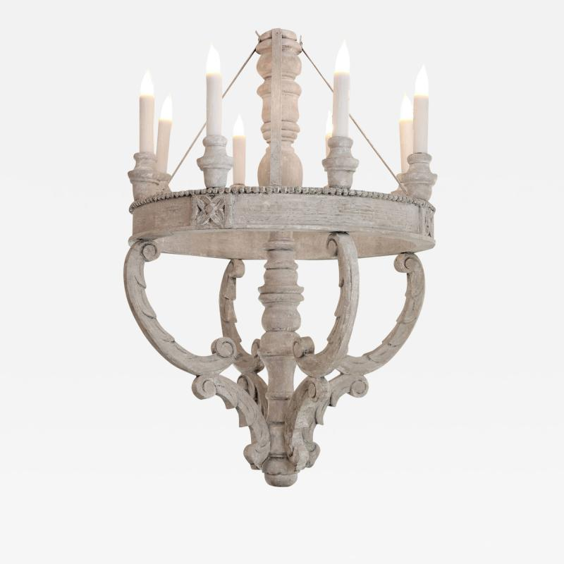 Large Painted Wooden Chandelier