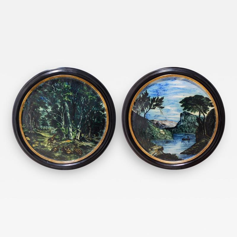 Large Pair of 19th Century Italian Glazed Majolica Framed Plaques