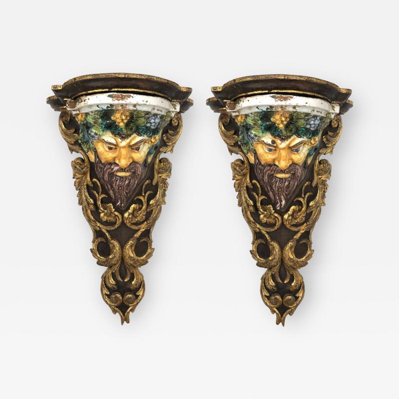 Large Pair of Italian Baroque Style Majolica Bacchus Corbels Brackets