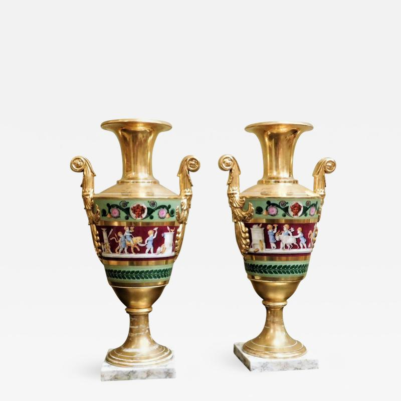 Large Pair of Old Paris Empire Porcelain Vases