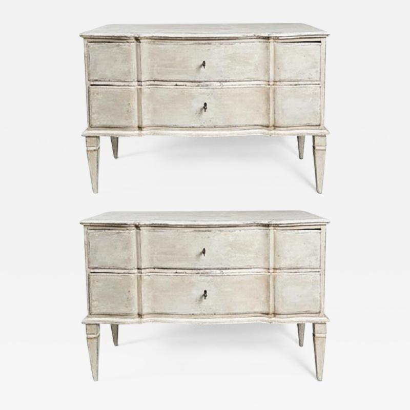 Large Pair of Scandinavian Baroque Style Painted Chests