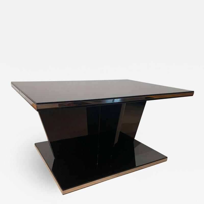 Large Restored Art Deco Sofa Table Black Lacquer and Metal France circa 1930
