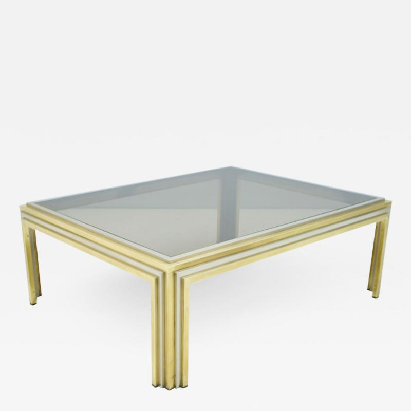 Large Romeo Rega Bi Color Coffee Table Brass Chrome and Glass 1970s
