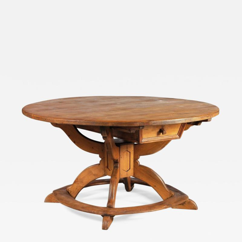 Large Round Alpine Early 19th Century Pine Table