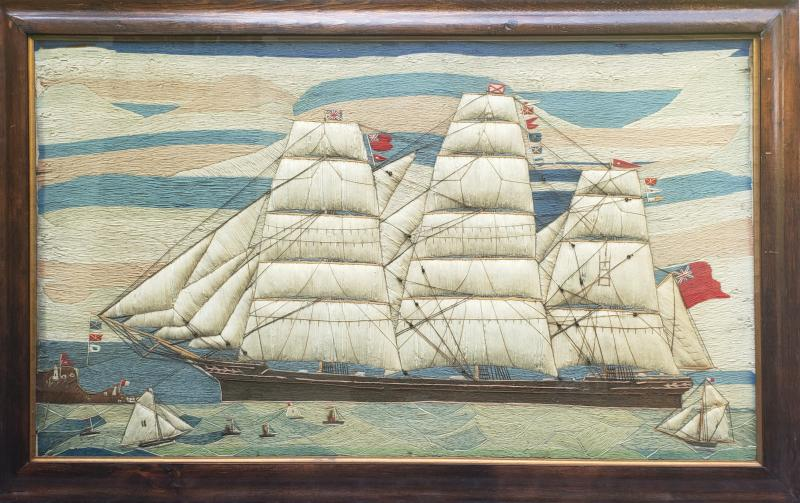 Large Sailors Woolwork of a British Merchant Navy Ship Coming into Port