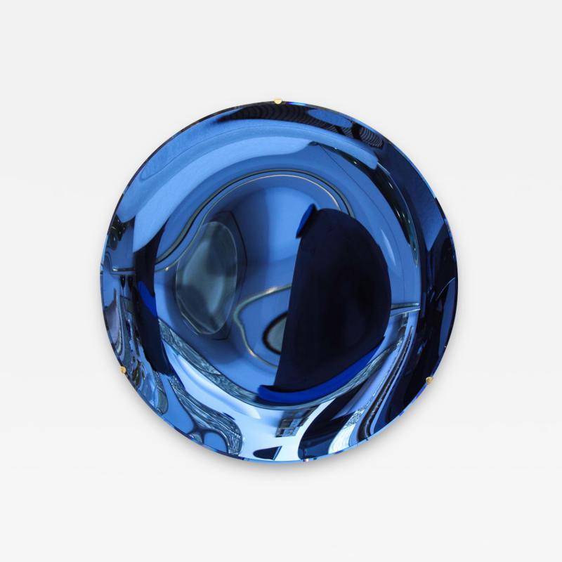 Large Sculptural Round Concave Cobalt Blue Mirror Italy 2021