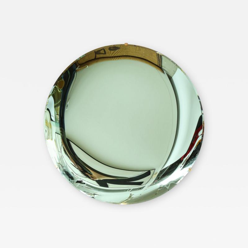 Large Sculptural Round Concave Green Verde Mirror Italy 2021