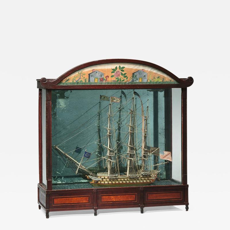 Large Ship Model Displayed in Cabinet