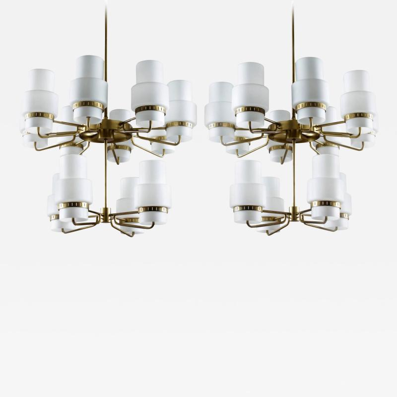 Large Swedish Chandeliers in Brass and Frosted Opaline Glass