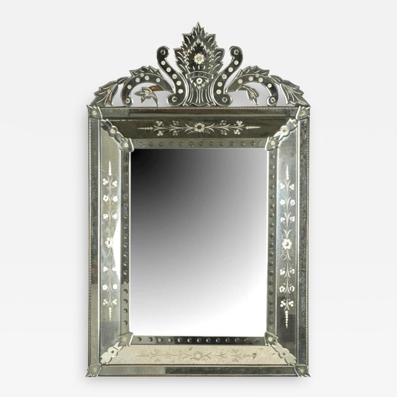 Large Venetian Etched Mirror Mid 20th Century