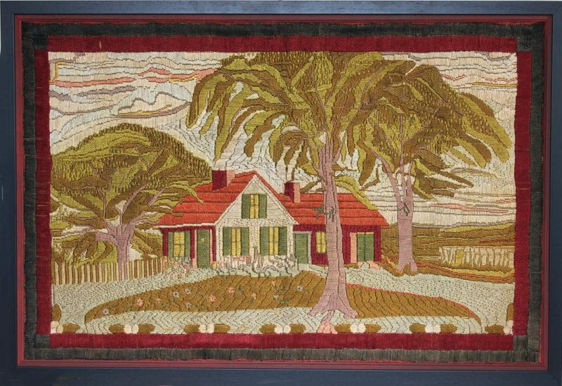 Large Woolwork Picture of a Farmhouse with Palm Trees