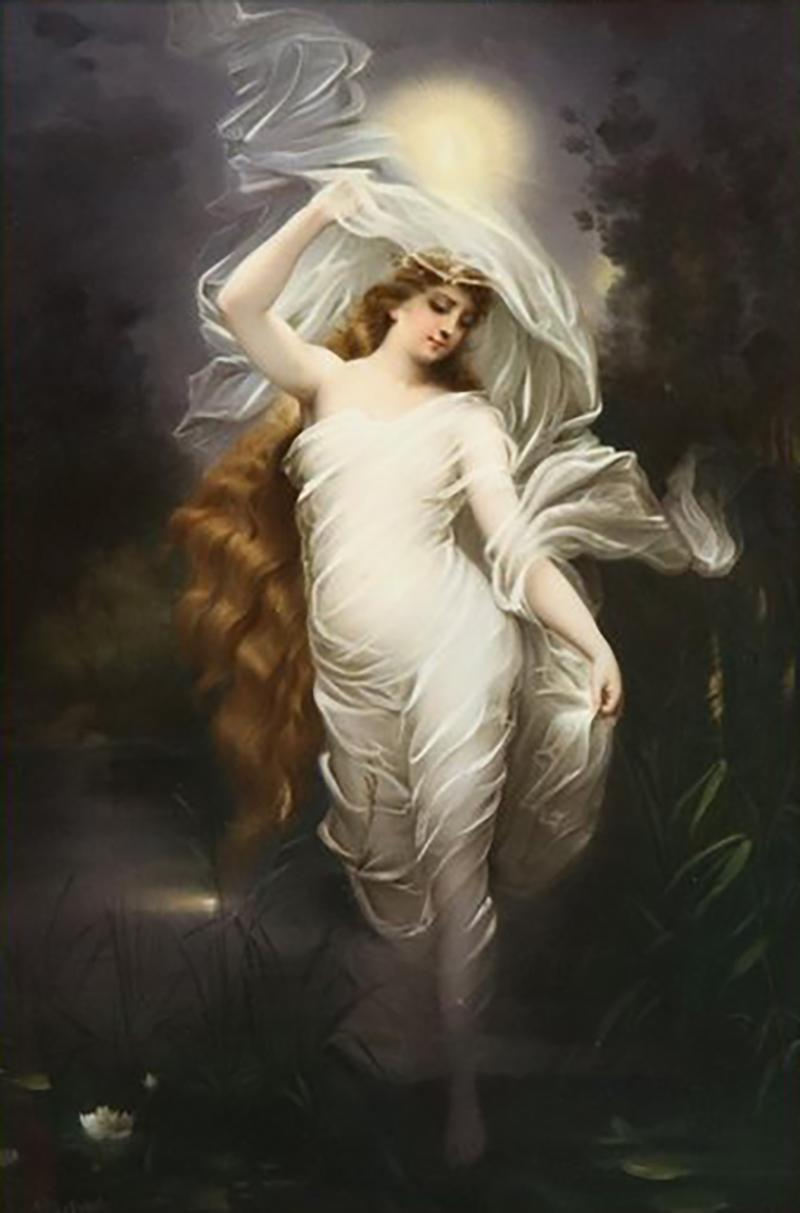 Large and Exceptional Berlin K P M Porcelain Plaque of Female Maiden Dietrich