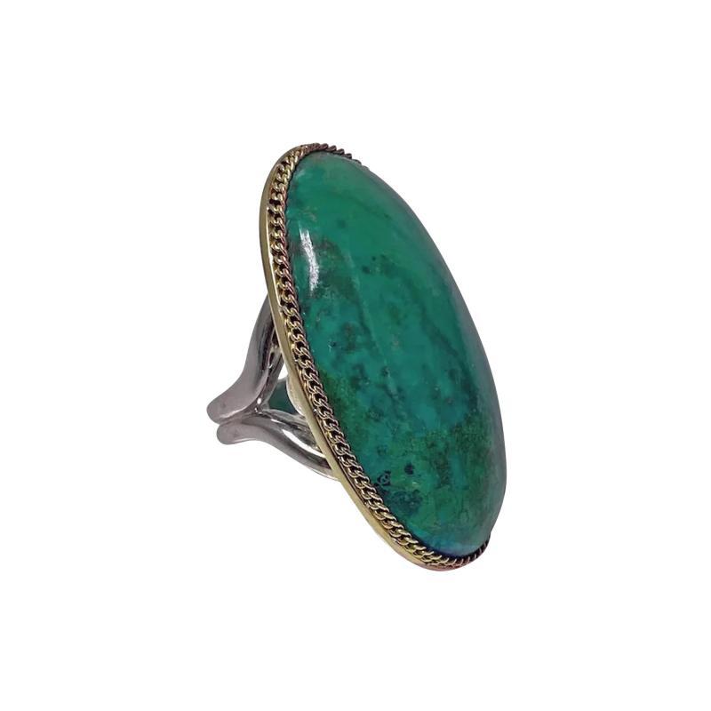 Large blue green Turquoise cabochon custom Ring