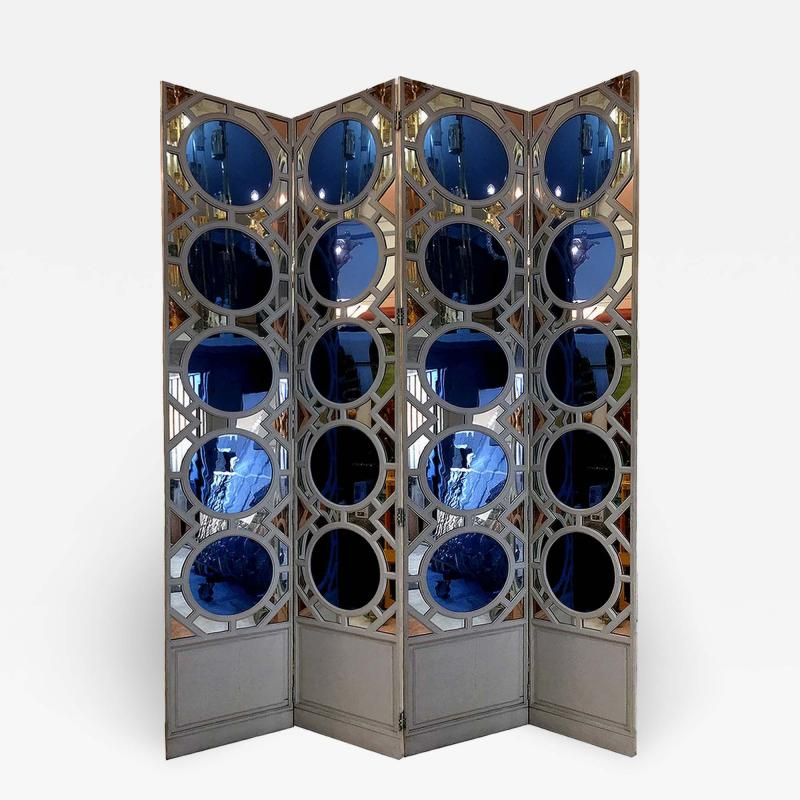 Large folding screen in lacquered wood and mirror France 1970