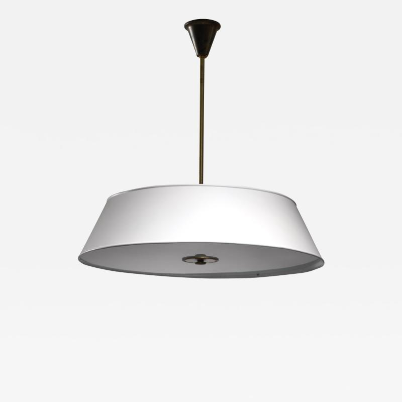 Large white brass and frosted glass pendant for Rettig Palace