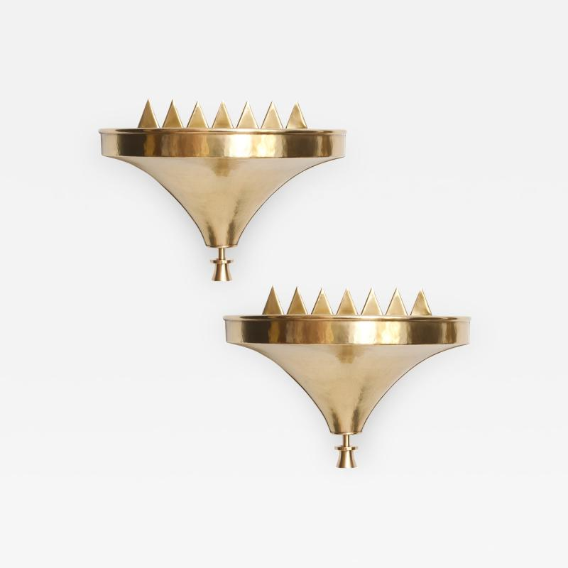 Lars Holmstr m Swedish Art Deco Flame Brass Sconces Lars Holmstrom