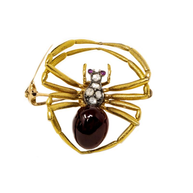 Late 1800s French 18kt Gold Diamond Ruby Spider Brooch