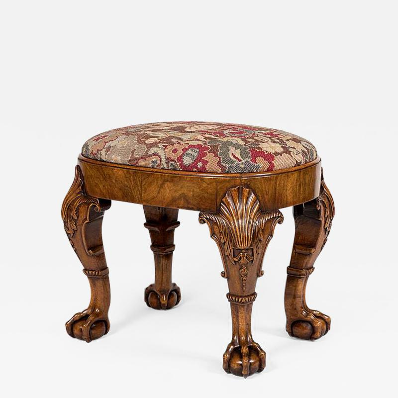 Late 19th Century English Walnut Stool in the Early Georgian Manner