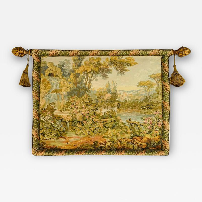 Late 19th Century French Handwoven Tapestry of Garden with Three Putti