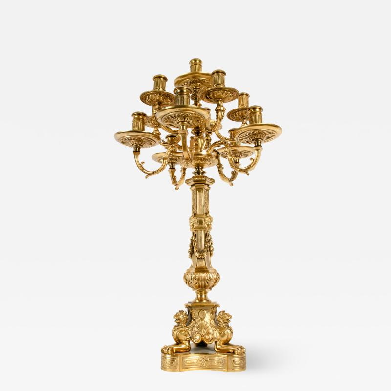 Late 19th Century Large Gilt Bronze Eleven Arms Candelabra