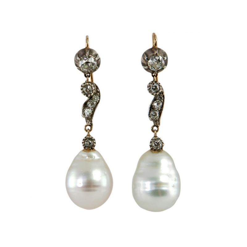 Late 19th Century Pearl and Diamond Earrings