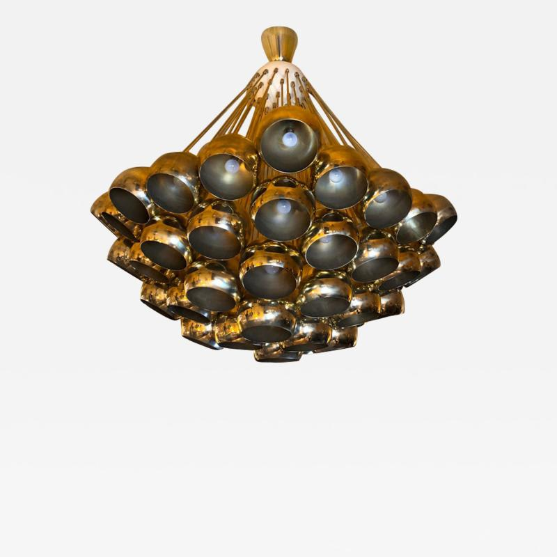 Late 20th Century Huge Italian Brass Open Globes Chandelier