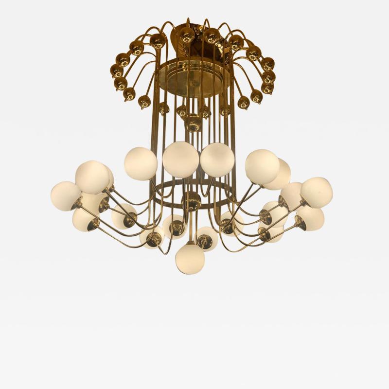 Late 20th Century Italian Bistrot Brass Chandelier w White Opaline Glass Globes