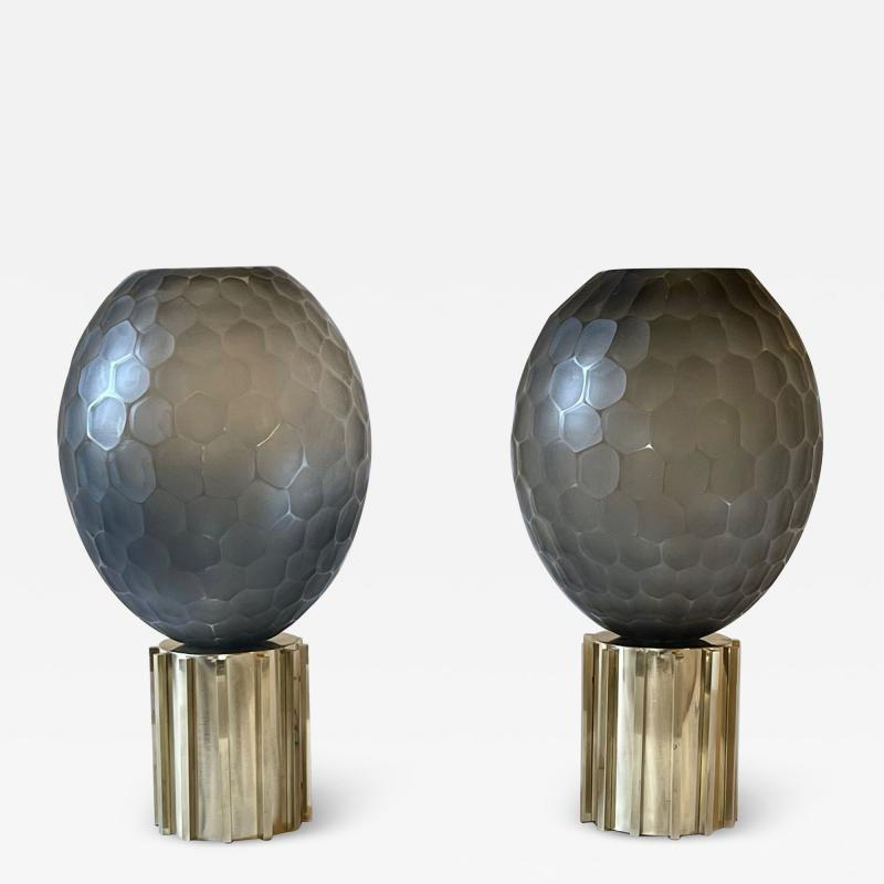 Late 20th Century Pair of Faceted Gray Murano Glass Brass Table Lamps