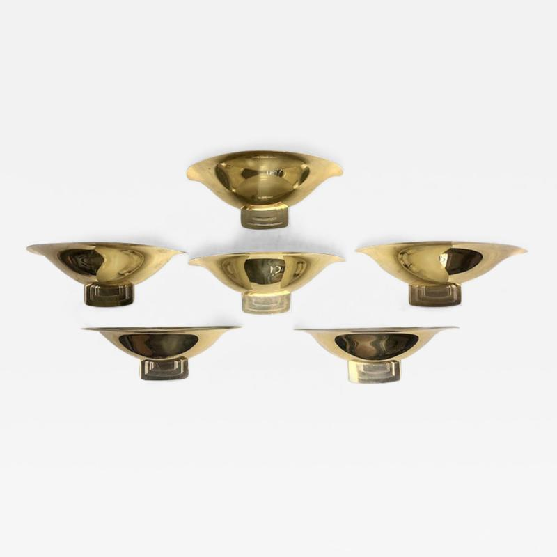 Late 20th Century Six Space Age Gold Metal Transparent Lucite Sconces