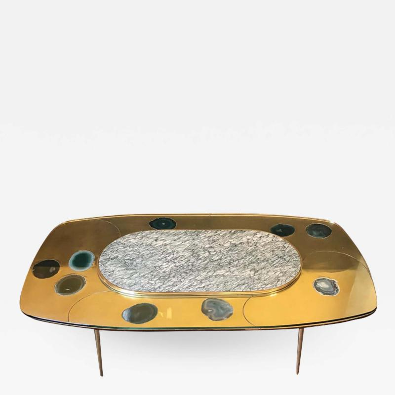 Late 20th Century Space Age Brass Glass w Green Malachite Marble Coffee Table