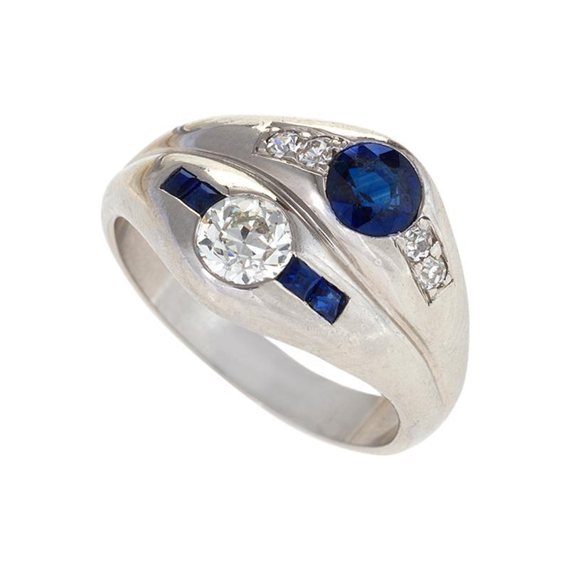 Late Art Deco Diamond Sapphire and Platinum Double Yin Yang Ring